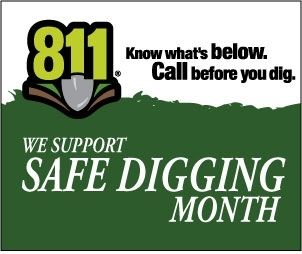 MISS DIG and YCUA remind you that April is National Safe Digging Month.  Excavators and homeowners call 8-1-1 before digging - it's a free service!